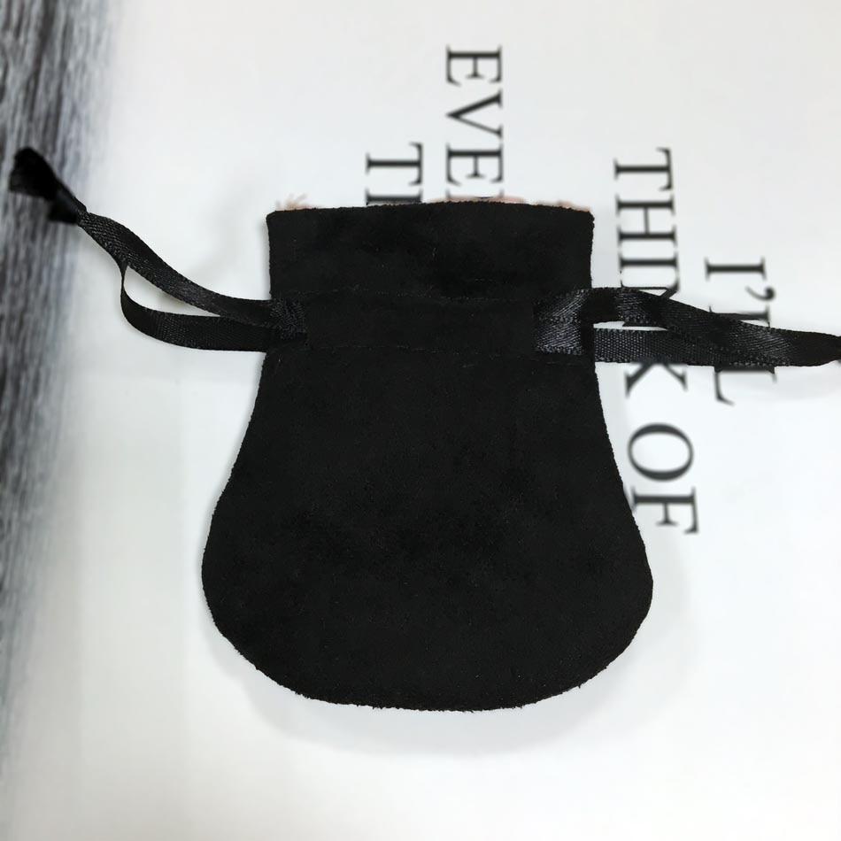 1pcs Double Layer Flannel Bag Black Pouch For Bead Charm Bracelet Necklace Women Original Diy Jewelry Black Outer Packaging