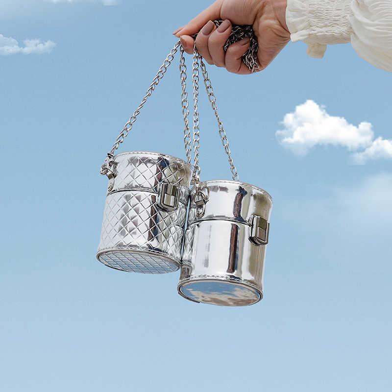 Net Rosso Celebrità Ha Ispirato il Secchio Borsa delle Donne del Sacchetto Nuovo 2020 di Modo di Struttura della Pelle Verniciata Messenger Bag Catena del Freddo Spalla borsa