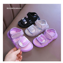 2021 Fashion Summer Shoes Kids Beach Sandals Purple Gray Canvas Baby Non slip Soft Bottom Toddler Shoes for Girl Princess Shoes