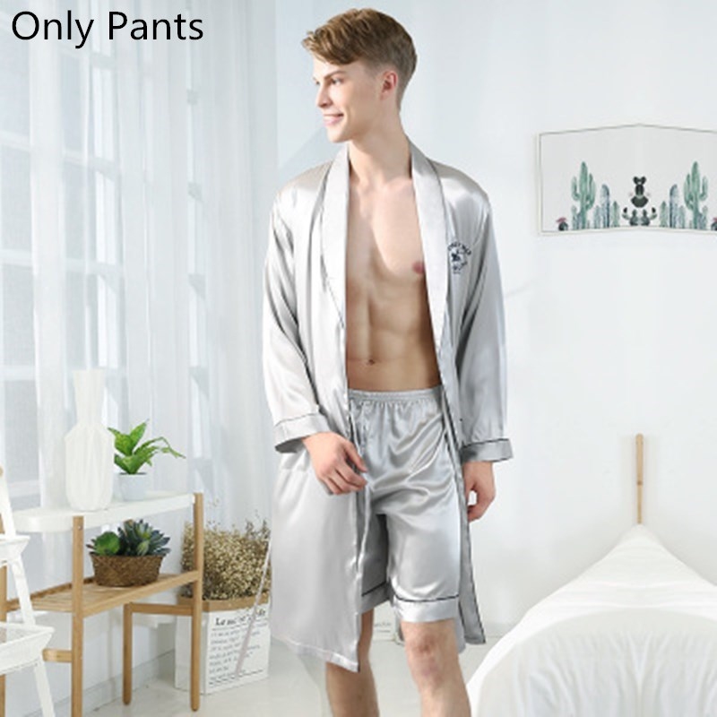 Men's Pajamas Male Satin Silk Pyjamas Summer Sleep Bottoms Lounge Short Pants Sleepwear Elastic Waist Male Home Wear Nightgrown