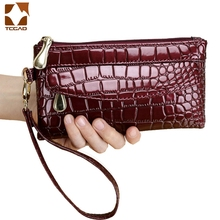 women's wallet Patent Leather Fallow Long Ladies Double Zipper Wallets Clutch Bag Design portable Purse Crocodile Purses elegant women s clutch bag with patent leather and crocodile print design