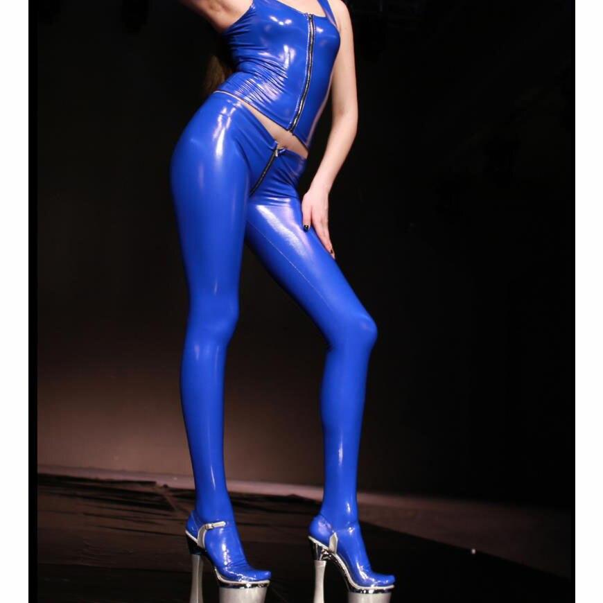 Image 5 - בתוספת גודל PVC לטקס מבריק רוכסן מפשעה סקסי מכנסי עיפרון פתוח התחת רטוב חותלות Streewear פו עור מכנסיים נשים גרביוניםמכנסיים ומכנסיים בגזרה צרהבגדי נשים -