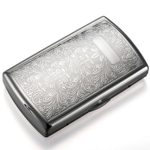 Metal Cigarette Case Box for 12-piece Chrome-plated Ultra-th