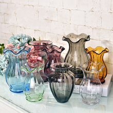 Creative glass vase decoration Tabletop color Glass Vase handmade floral hydroponic desktop flower container Living room decor transparent tabletop glass vase mini crystal hydroponic container terrarium plant flower pot vase home office wedding decor