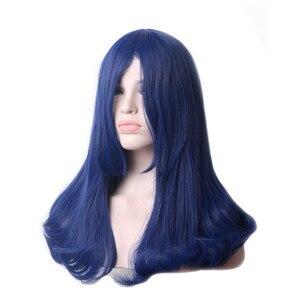 Image 3 - WoodFestival kobieta granatowy syntetyczna peruka z grzywką długie proste żaroodporne Cosplay peruki dla kobiet