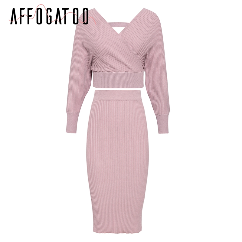 Affogatoo Sexy v-neck women knitted pink dress Elegant Two-piece batwing sleeve sweater party dress ladies bodycon midi dresses