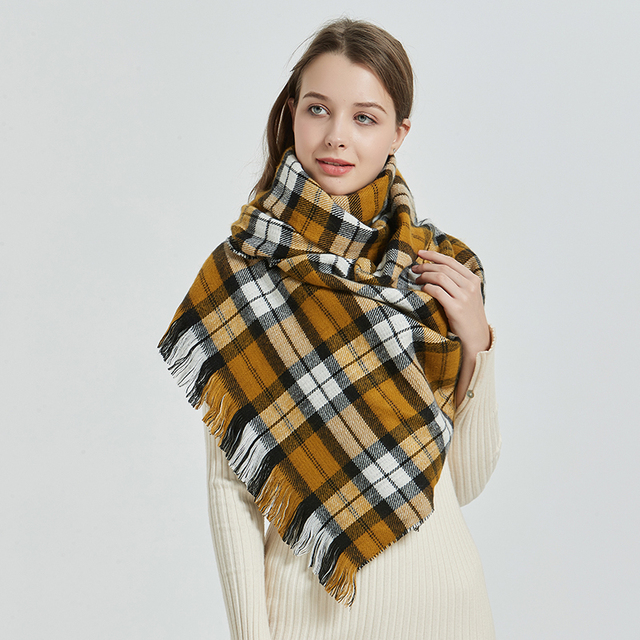 [FEILEDIS] 2020 luxury Plaid Winter Scarf Women Warm Foulard Solid Scarves Fashion Casual Scarfs Cashmere FD1001 4