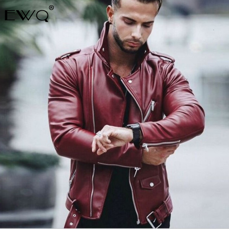 US $57.05 |EWQ / 2019 New Fashion Autumn Turtleneck Patchwork Locomotive Style Solid Slim Zipper Leather Jacket Men Thin Casual Coats 9A122|Jackets| |  - AliExpress