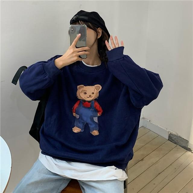 Cute Printed Bear Hoodies Women Autumn Winter Korean Loose Plus Velvet Sweatshirts Female Casual Cartoon O-Neck Pullovers Hoodie
