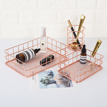 Simple Fashion Rose Iron Gold Storage Blasket Ins Desk Organizer Books Fruit Holder image