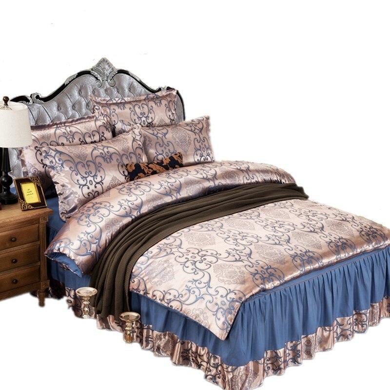 European Style Satin Four-piece Jacquard Beddings Chuang Qun Shi Bedspread AliExpress