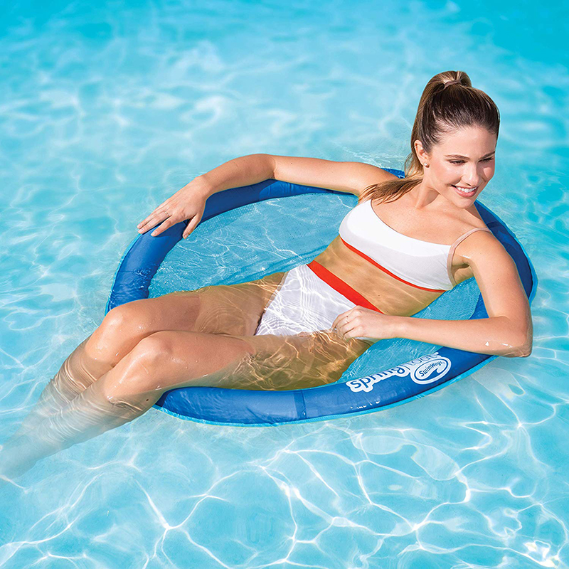 Foldable Water Lounge Pool Floating Row Hammock Floats Round Lounger Beach Bed Inflatable Chair Adult Ride On Swimming Ring