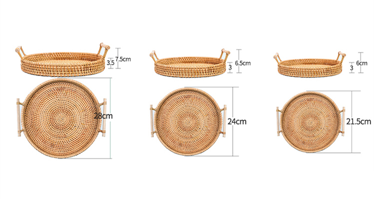Handwoven Rattan Storage Tray With Wooden Handle Round Wicker Basket Bread Food Plate Fruit Cake Platter Dinner Serving Tray