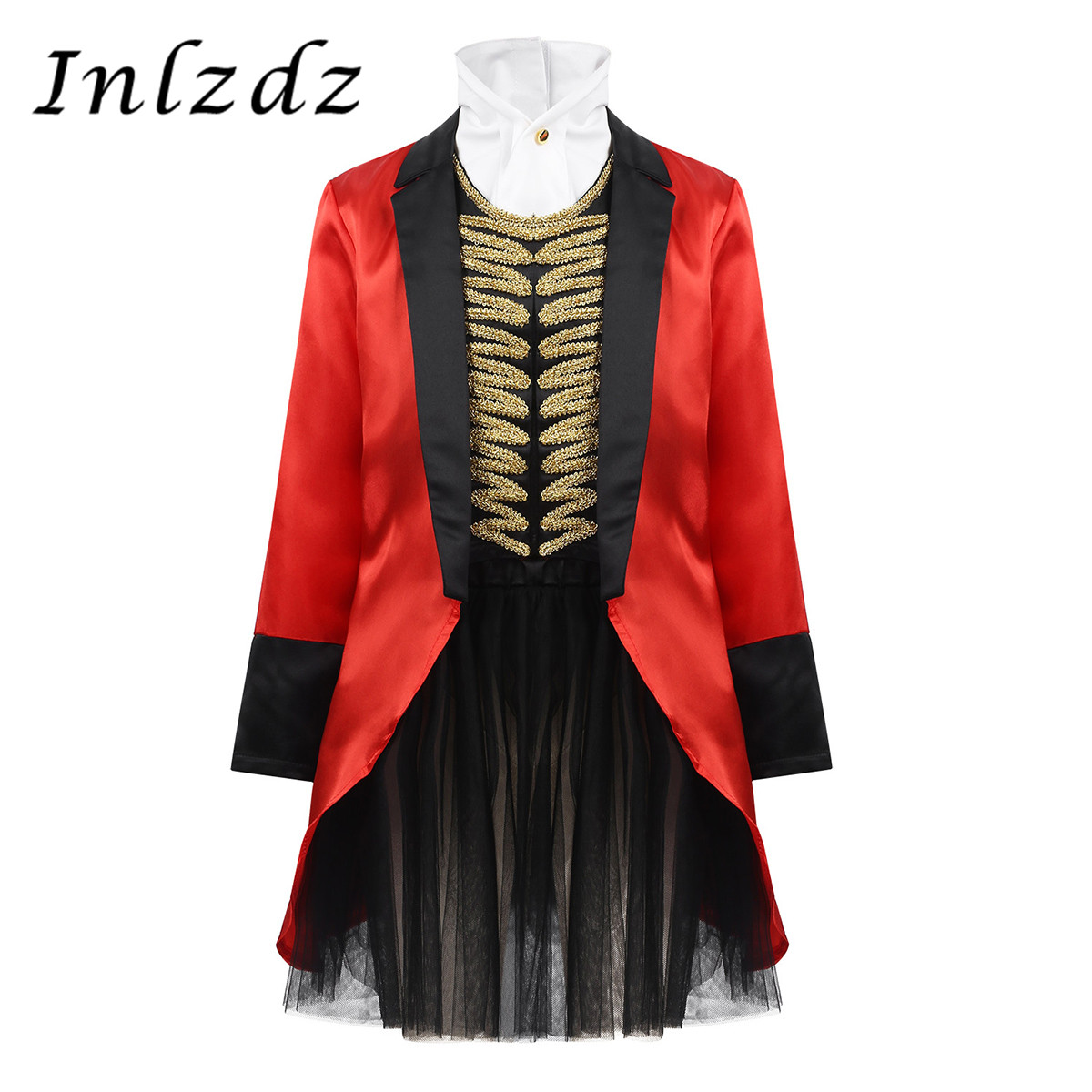 Kids Girls Circus Ringmaster Costume Outfit Jacket With Decorative Neckpiece Tutu Skirt Set For Halloween Cosplay Party Dress Up