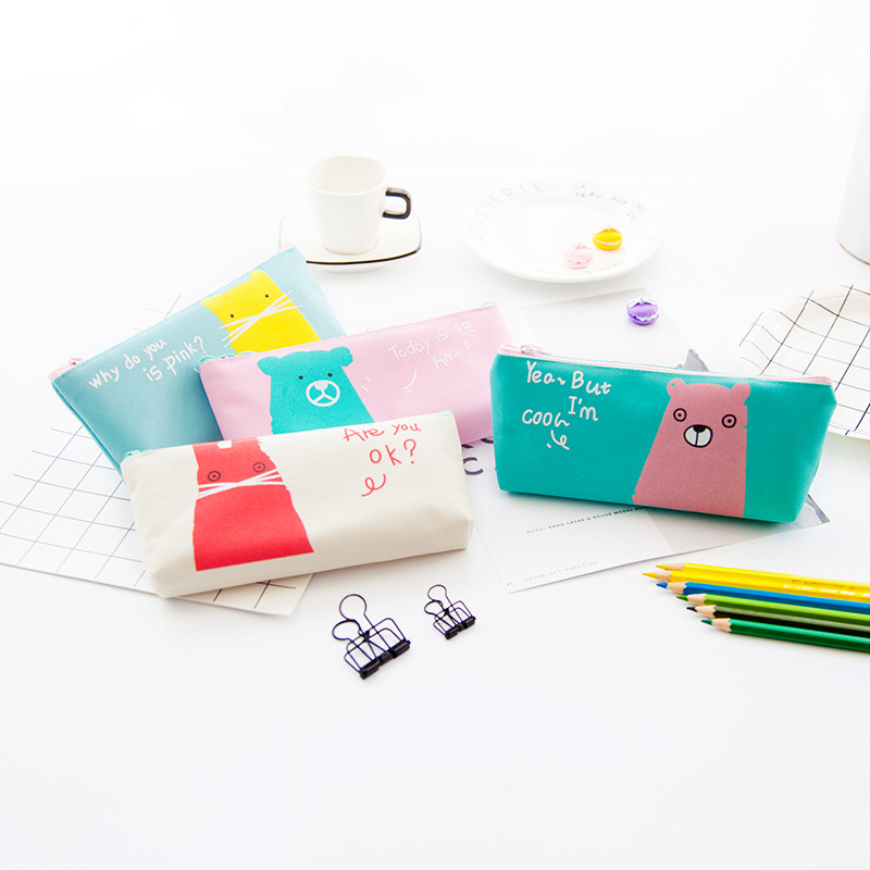 Golden Bean Student Supplies Stationery Creative Inverted Trapezoid Pencil Bag Cartoon Cute Simple Animal Pencil Bag