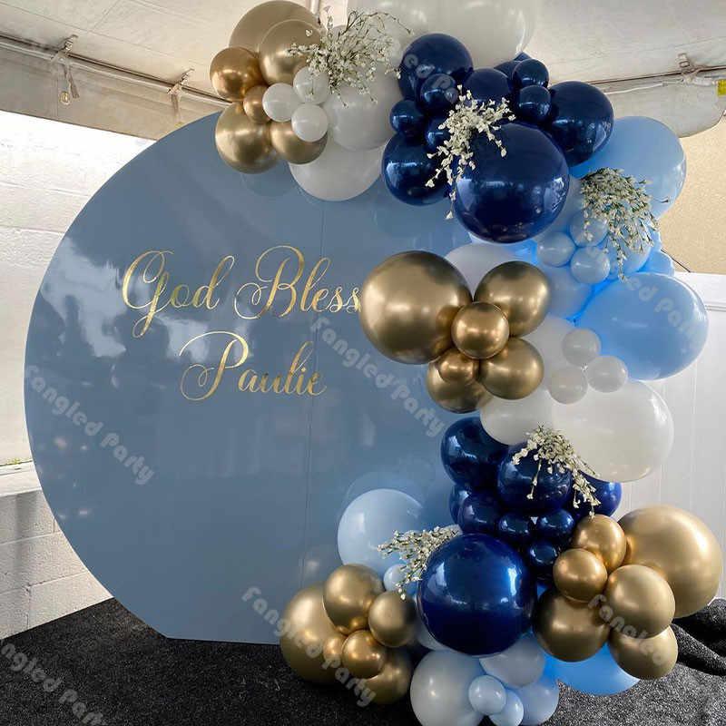 95 قطعة ماتي الأزرق الداكن الأبيض طوق من البالونات الذهب الأزرق استحمام الطفل بالونات جارلاند الجنس تكشف الزفاف حفلة عيد ميلاد لوازم