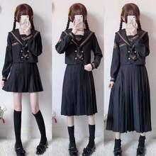 Pleated-Skirt School-Uniform Japanese Student High-School Suit JK Girls Solid-Color Middle/long
