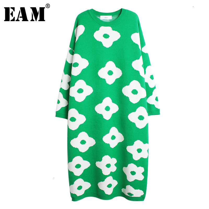 [EAM] Pattern Printed Big Size Knitting Sweater Loose Fit Round Neck Long Sleeve Women New Fashion Tide Autumn Winter 2019 1H177