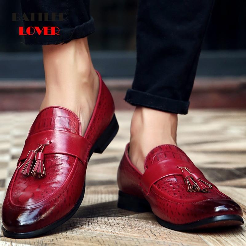 Men Genuine Leather Dress Shoes Autumn Men Business Flat Wedding Shoes Mens Formal Shoes Brogue For Man Slip on Casual Shoe