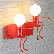 Modern E27 Iron LED Wall Lamp Loft Metal Cartoon Robot Sconce Lighting Indoor Exterior Bedside Porch Luminaire