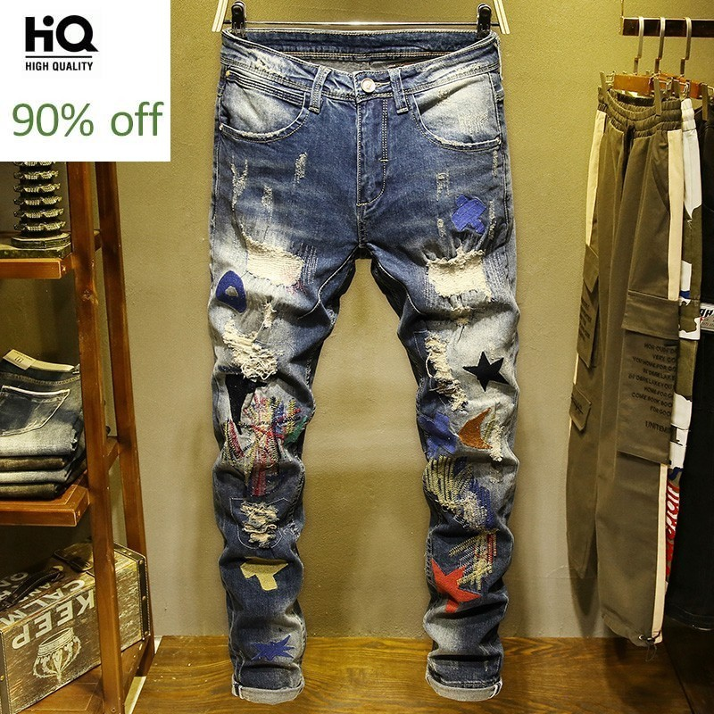 Personality Winter Mens Embroidery Hole Ripped Denim Pants Fashion Casual Slim Fit Stretch Full Length Cowboy Jogger Trousers