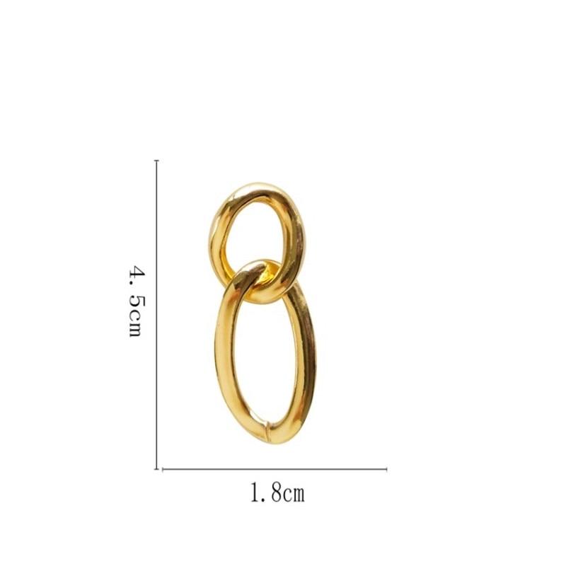 European And American Temperament Metallic Simple Sense Geometry Elliptic Earring Goes Up With Cool Wind Hip Hop Tide Female