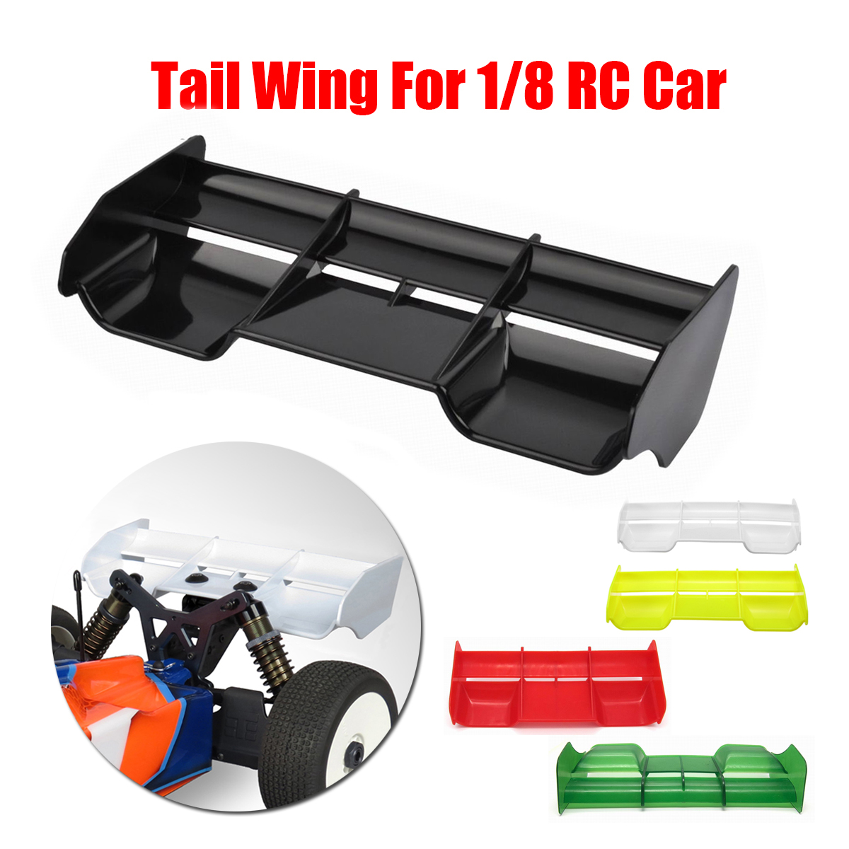 1:8 Buggy RC Cars Tail Wing for 1//8 Scale Nitro Electric Powered Off Road