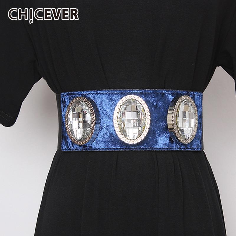 CHICEVER Patchwork Diamond Elastic Belt Female High Waist Tunic Lace Up Clothing Accessories Corset Belts Women 2020 Autumn New