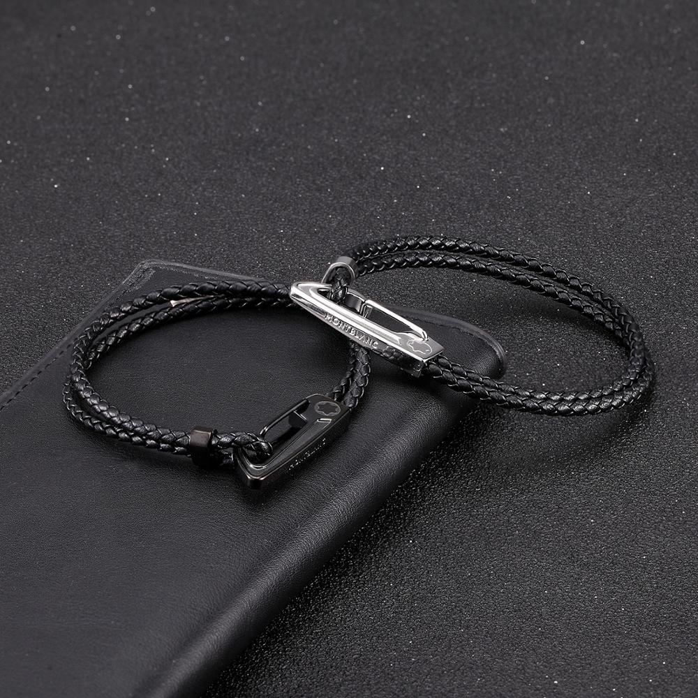 MOGE Trendy Men Bracelets Stainless Steel Geunine Braided Leather Bracelets Men Wristband Bangle Fashion Men Jewelry Gift