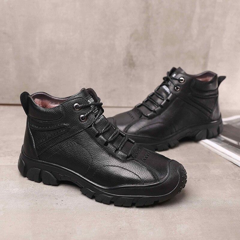 1769.78руб. 40% СКИДКА|Обувь из 100% натуральной кожи; мужские зимние ботинки; теплые плюшевые мужские ботильоны для холодной зимы; модные мужские ботинки из коровьей кожи; KA1866|Ботинки| |  - AliExpress