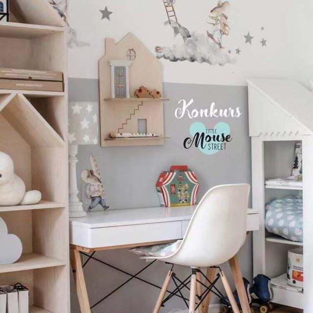Scandinavian Style Eco-friendly Wooden Rack House Shape Children's Play Game Room Wall Shelf For Decoration Toys Doll Storage