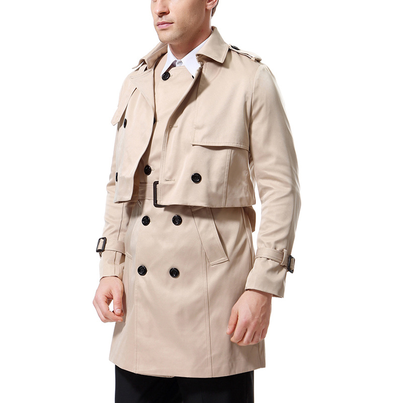 Autumn Clothing New Style Men Fashion Casual Versatile Two-Piece Set Mid-length Double Breasted Trench Coat Yf002