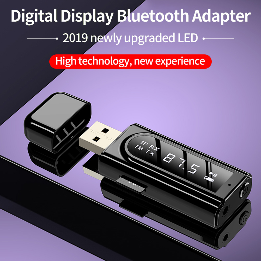 USB <font><b>Bluetooth</b></font> 5.0 <font><b>Adapter</b></font> LCD Display <font><b>Bluetooth</b></font> Transmitter Receiver 3.5mm AUX MP3 Music Wireless Audio <font><b>Adapter</b></font> for Car <font><b>PC</b></font> TV image