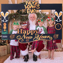 Photo-Booth-Props Happy New-Year Gold Black Eve-Paper Christmas