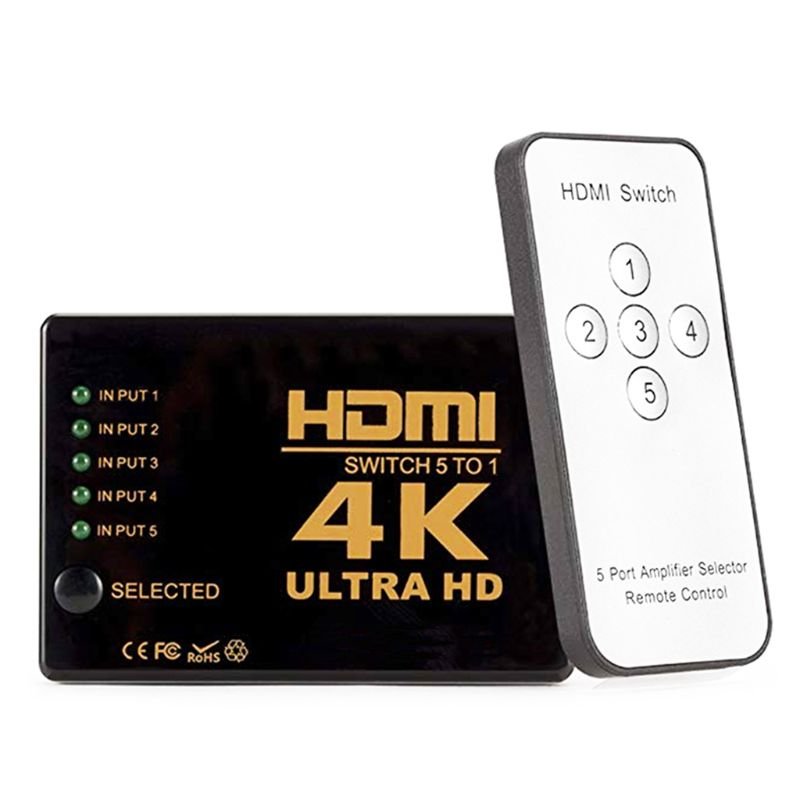 Mini HDMI Switcher 4K HD1080P 3 5 Port HDMI Switch Selector Splitter With Hub IR Remote Controller For HDTV DVD TV BOX Z2
