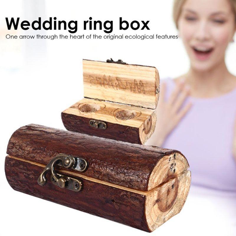 Artisanat en bois ornements anneaux boîte en bois Simple rétro sculpté romantique mariage bague de fiançailles mallette de rangement