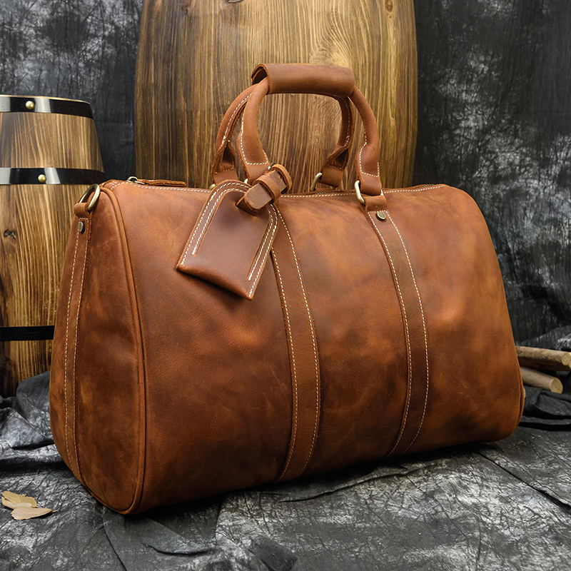 MAHEU Durable Crazy Horse Leather Men Women Travel Bag Retro High Quality Grande Hand Duffle Bag Cowhide Boston Bag Shoulder Bag