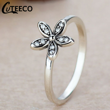 Cuteeco Silver Colors Fashion Elegant Original Pan Ring Daisy Flower Finger Clear AAA CZ Wedding Jewelry For Woman