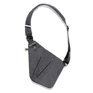 Image 1 - NewBring siyah tek omuz çantaları erkekler için su geçirmez naylon Crossbody çanta erkek anti hırsızlık göğüs çantası