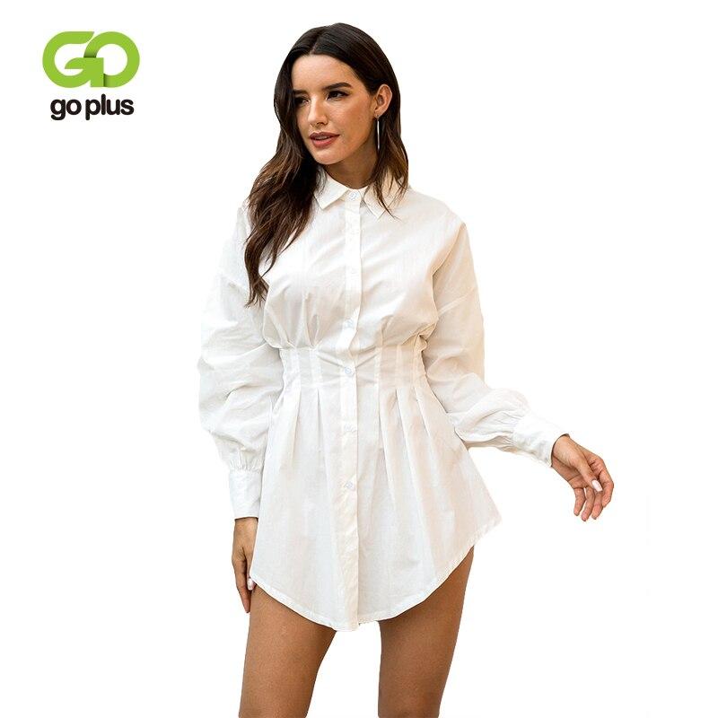 GOPLUS 2019 Womens White Dress Turn-down Collar Long Sleeve Sexy Mini Shirt Bodycon Summer Women Clothing For