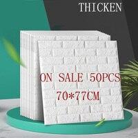 50PCS Thicken 70*77 3D Brick Pattern Wall Panel DIY PE Foam Wall Sticker Kids Room Bedroom Border Protective Wallpaper Stickers