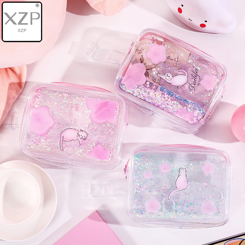 XZP Waterproof Quicksand Cosmetic Bag Ins Style Cute Cat Portable Storage Bag Make Up Organizer Plastic Makeup Organizer Make Up