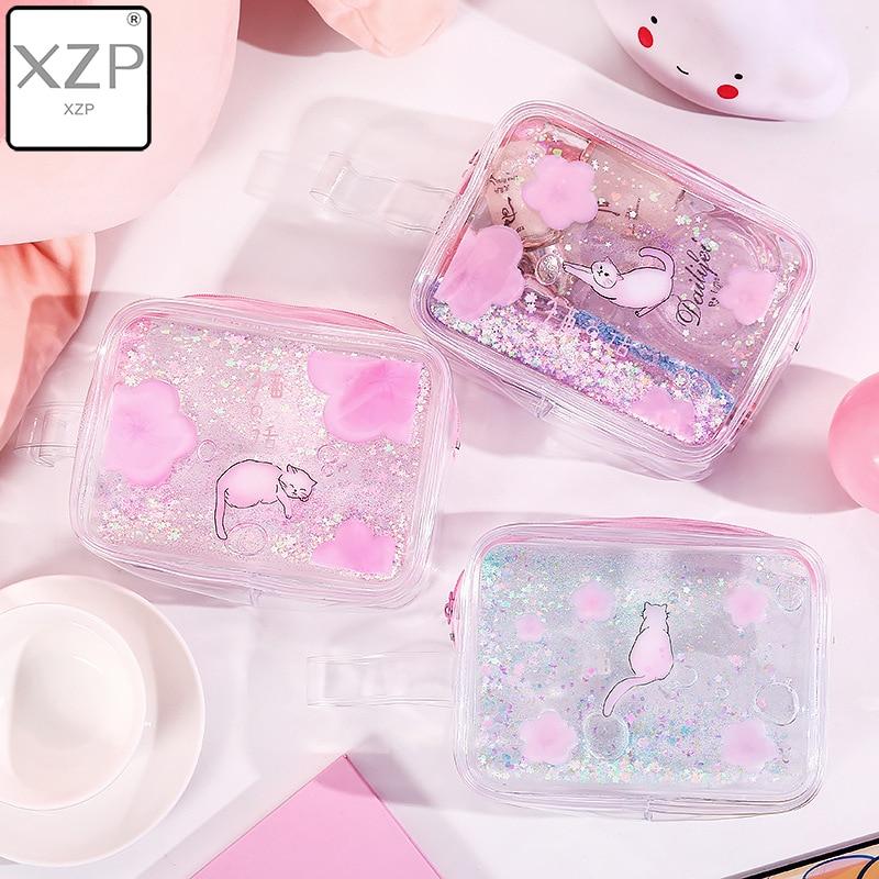 XZP Waterproof Quicksand Cosmetic Bag Ins Style Cute Cat Portable Storage Bag Make Up Organizer Plastic Makeup Organizer Make Up