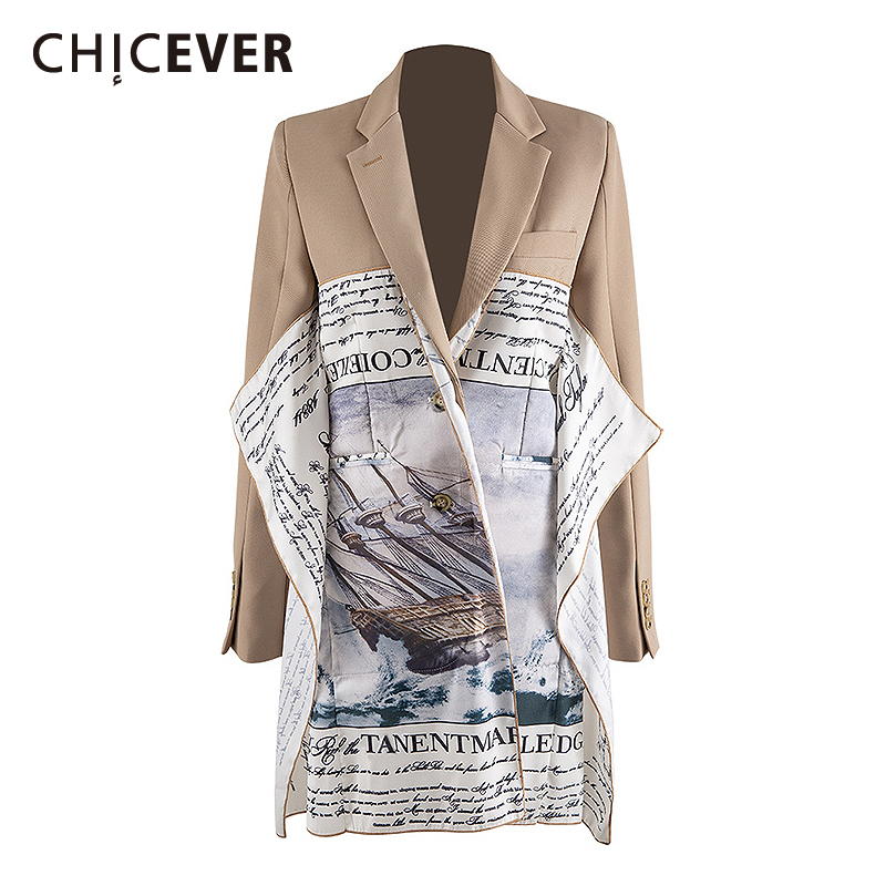 CHICEVER Patchwork Letters Women Blazers Notched Long Sleeve Irregular Hit Color Suit Female Fashion 2020 Spring Clothing Tide