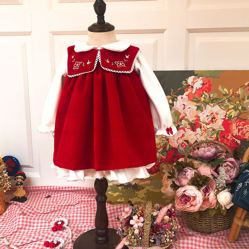2019Spanish Autumn Children 2pcs Vest Thick with Velvet Embroidered Red Holiday Dress Girls Christmas Festivals Sweet Dress