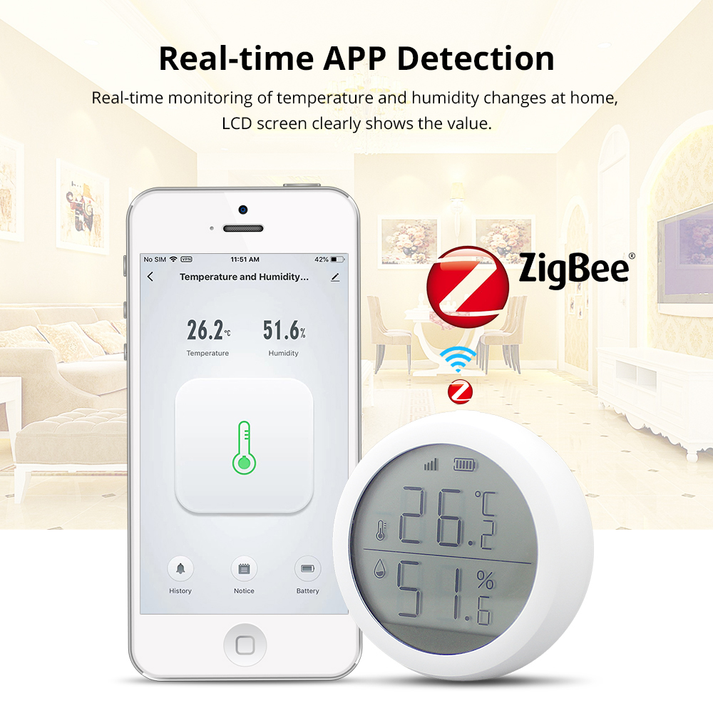Tuya Zigbee Temperature And Humidity Sensor And Atmospheric Pressure Condition With LCD Screen Display  Tuya APP Remote Control