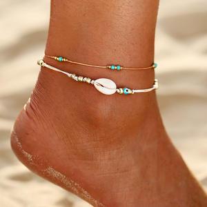 Ankle-Bracelet Beach-Anklets Beaded-Ocean Foot-Leg Multi-Rainbow Handmade Women Beads