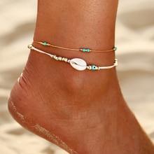 Multi Arco Iris coloridas cuentas de semillas pie pierna tobillo pulsera hecha a mano con cuentas océano playa tobilleras para mujeres joyería de playa