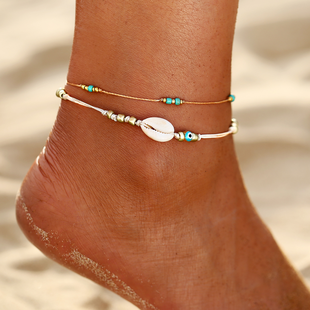 Multi Rainbow Colorful Seed Beads Foot Leg Ankle Bracelet Handmade Beaded Ocean Beach Anklets For Women Beach Jewelry