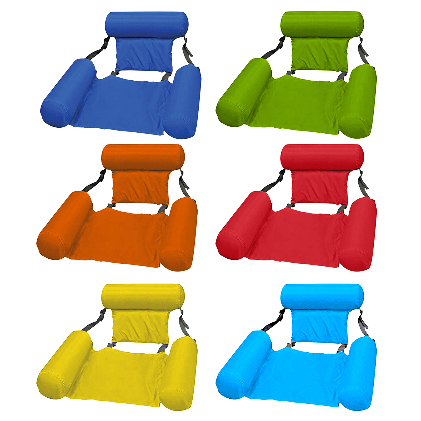 Water Floating Bed Swimming Pool Hammock Inflatable Water Longue with Backrest Ergonomic Anti-Leakage Sleeping Cushion